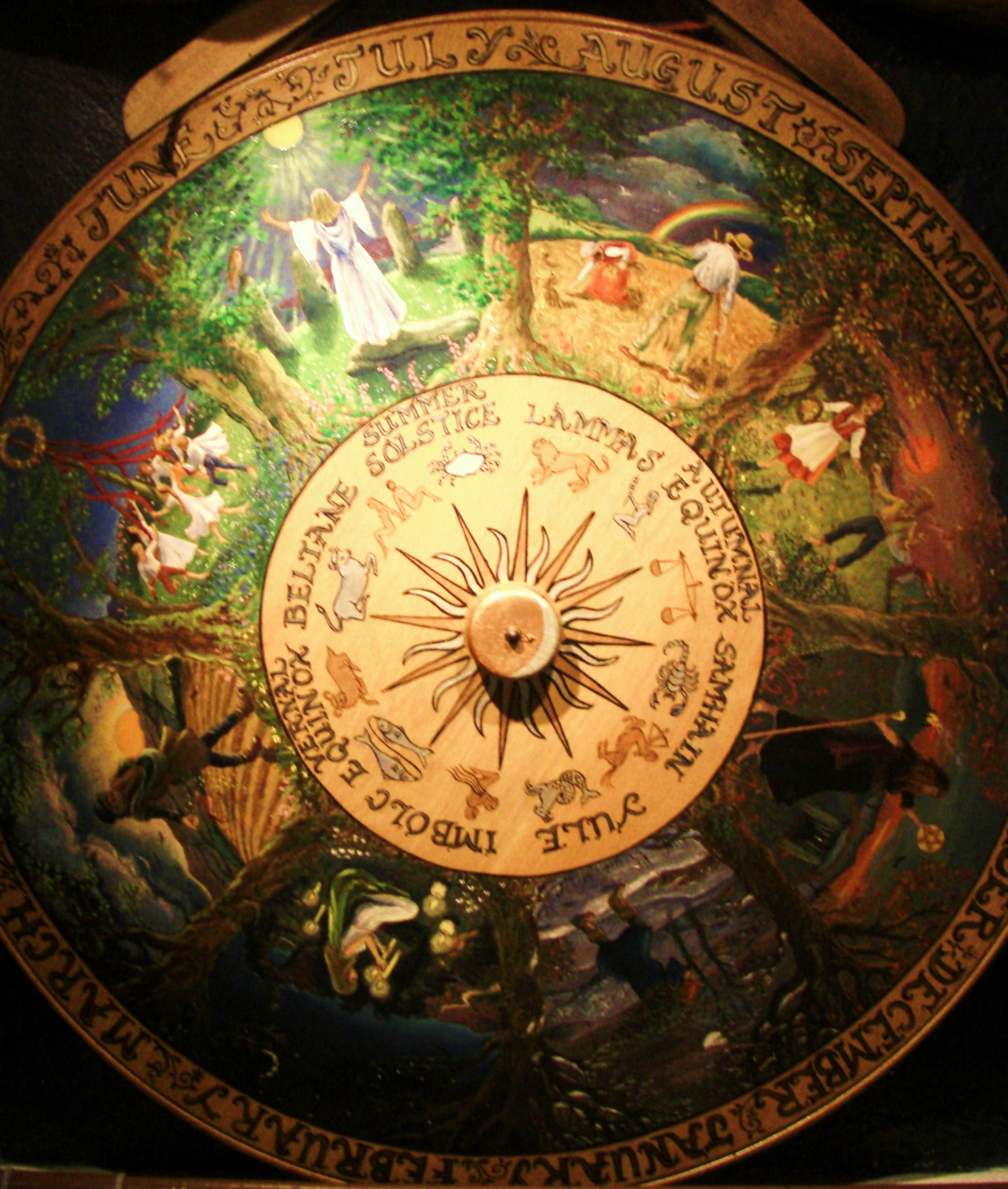 A photograph of a painted Wheel of the Year from the Museum of Witchcraft, Boscastle