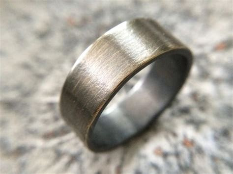 Men's Rustic 9mm Wedding Band   Thick Rugged Brass Ring In
