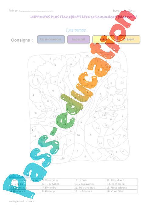 Les Temps Ce2 Coloriage Magique Conjugaison Pass Education