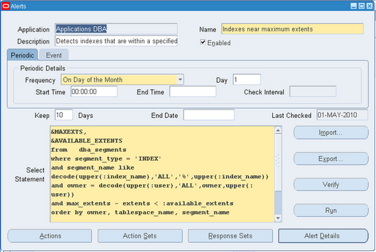 Oracle Center Creating A Periodic Alert In R12