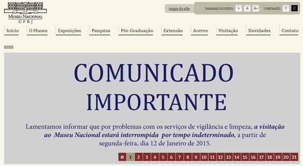 Comunicado foi divulgado no site do Museu Nacional (Foto: Reprodução/UFRJ)