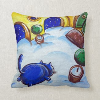 Cat Footprints In The Snow Throw Pillow