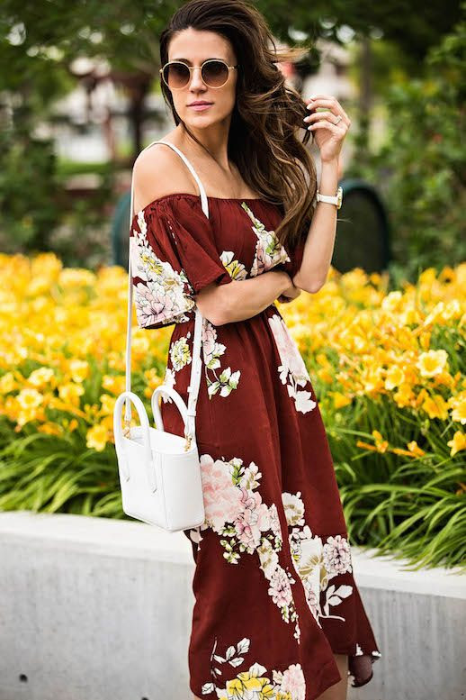 Le Fashion Blog White Box Bag Floral Off Shoulder Dress Via Hello Fashion