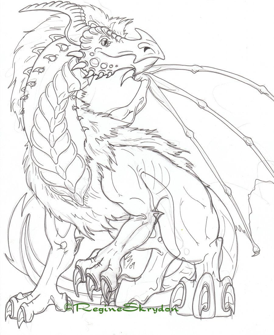Simple Dragon Adult Coloring Pages Printable #3026 Dragon ...