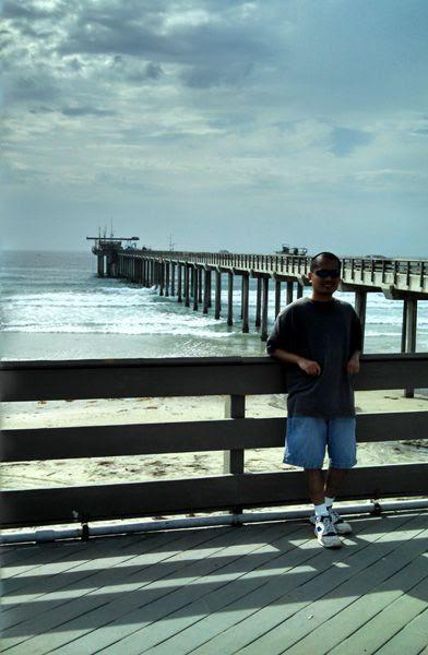 Posing near a pier at La Jolla Shores Beach in San Diego, on July 25, 2014.
