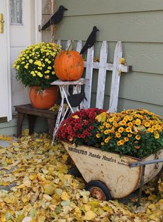 front porch- I could totally do this, because my deck fills up with leaves just this color.....