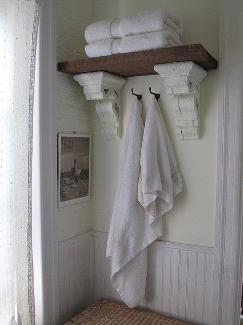 Bath shelf from hewn board and architectural salvage