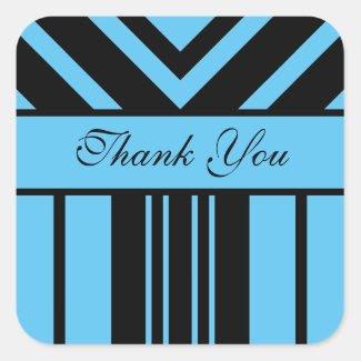 Thank You Sky Blue and Black Stripes Chevrons Square Sticker