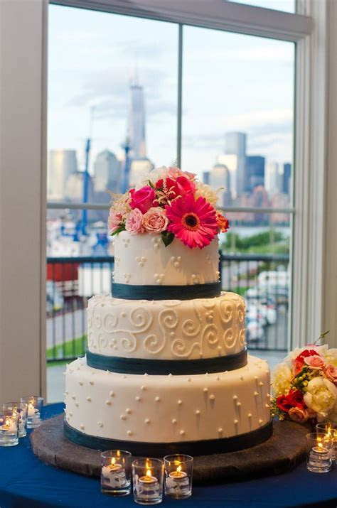 Three Tier Patterned Wedding Cake with Navy Stripes and