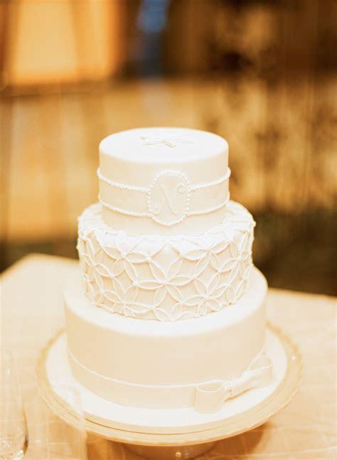 Three Tier Monogrammed White Wedding Cake   Elizabeth Anne