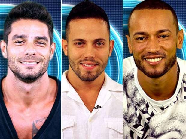 Diego, João e Valter forma o primeiro paredão do Big Brother Brasil 14 Foto: Divulgação