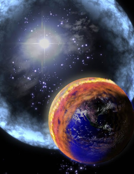 Scientists say that a ten-second burst of gamma rays from a massive star explosion within 6,000 light years from Earth could have triggered a mass extinction hundreds of millions of years ago. In this artist's conception we see the gamma rays hitting the Earth's atmosphere. (The expanding shell is pictured as blue, but gamma rays are actually invisible.) The gamma rays initiate changes in the atmosphere that deplete ozone and create a brown smog of NO2. Credit: NASA
