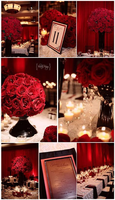 red black and white wedding reception, red roses, large
