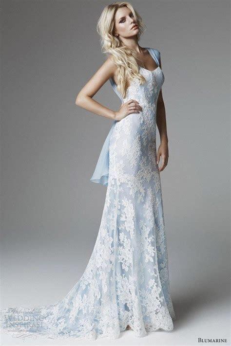 Blue Lace Wedding Dress for Older Brides Over 40, 50, 60