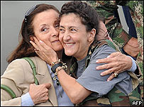 Ingrid Betancourt poco después de su liberación