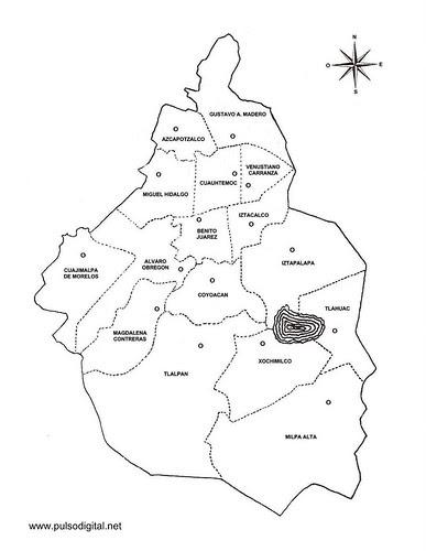 Mapa del Distrito Federal con el nombre de las Delegaciones