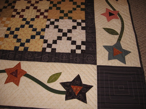 close up of quilting on front
