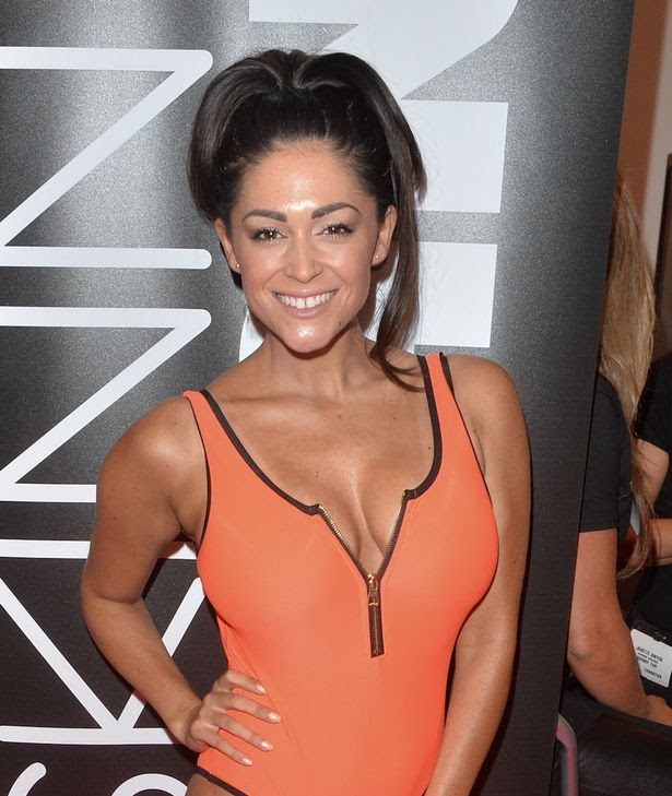 Casey Batchelor seen getting her spray tan done at skinny tan event in Birmingham
