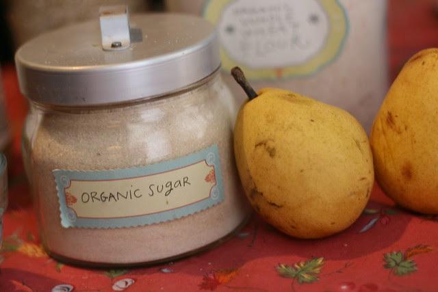 organic sugar, pears