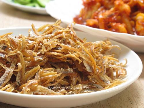 Sambal Udang (Chili shrimps) and Nasi Lemak