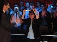 Annette Obrestad holds up bracelet after winning the 2007 WSOPE Main Event