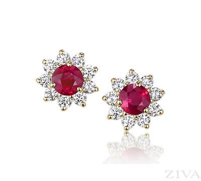 Round Ruby Earrings with Diamond Halos