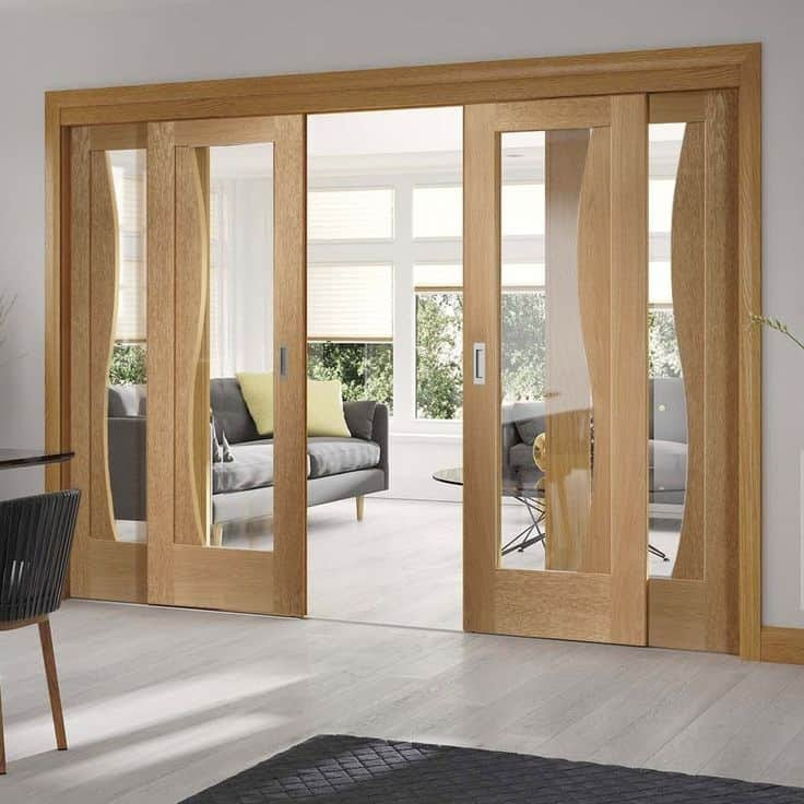 sliding door designs for living room in india  | 576 x 384