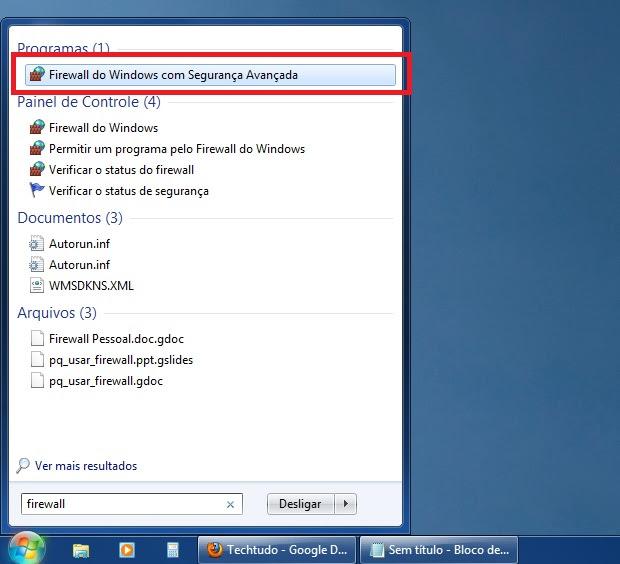 Acessando a configuração avançada do firewall do Windows (Foto: Reprodução/Edivaldo Brito)