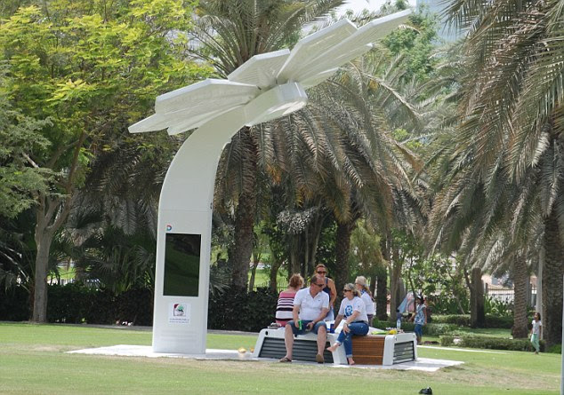UAE sun: Solar panels soak up energy during the day at the Smart Palm installed at the Dubai park