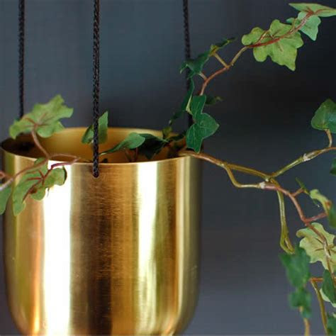 Gorgeous Brushed brass hanging vase planter plant pot