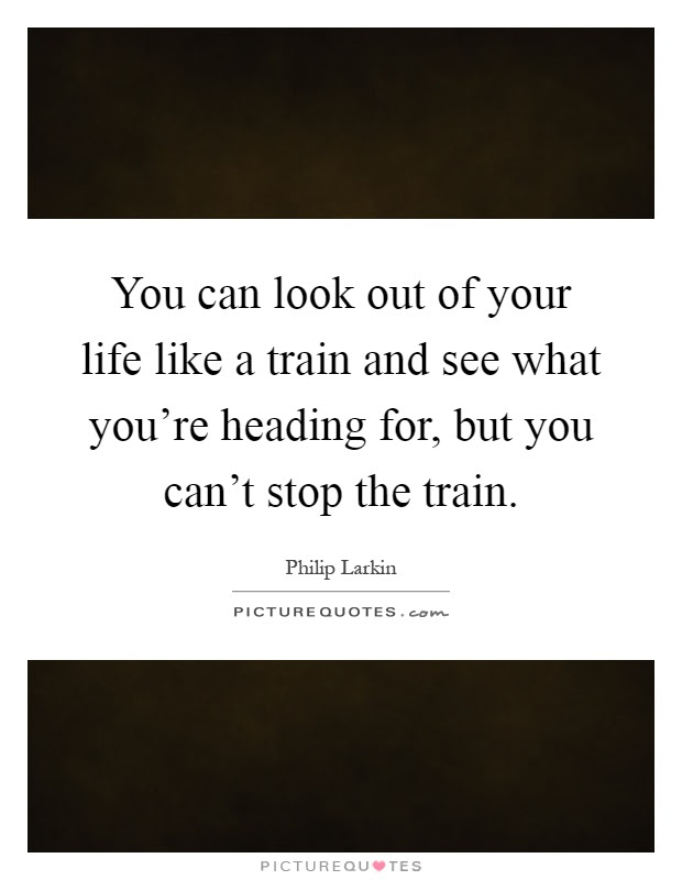 You Can Look Out Of Your Life Like A Train And See What Youre