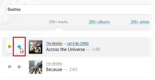 Clique no botão + para adicionar faixas à playlist