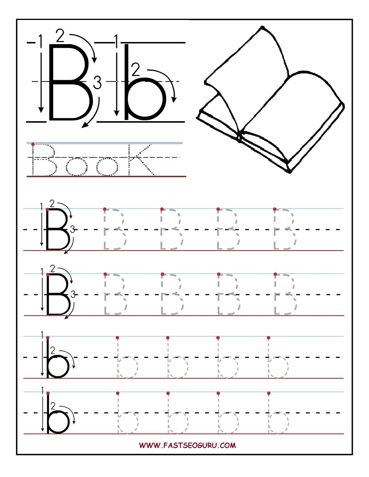 Printable Letter B Tracing Worksheets For Preschool