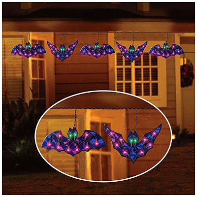 Strand of 5 HOLOGRAPHIC BAT LIGHTS Indoor/Outdoor Halloween Decoration (10 1/2 Inches Wide Each)