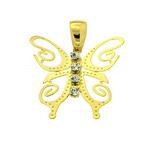 Pandantiv fluture cu pietre placat cu aur