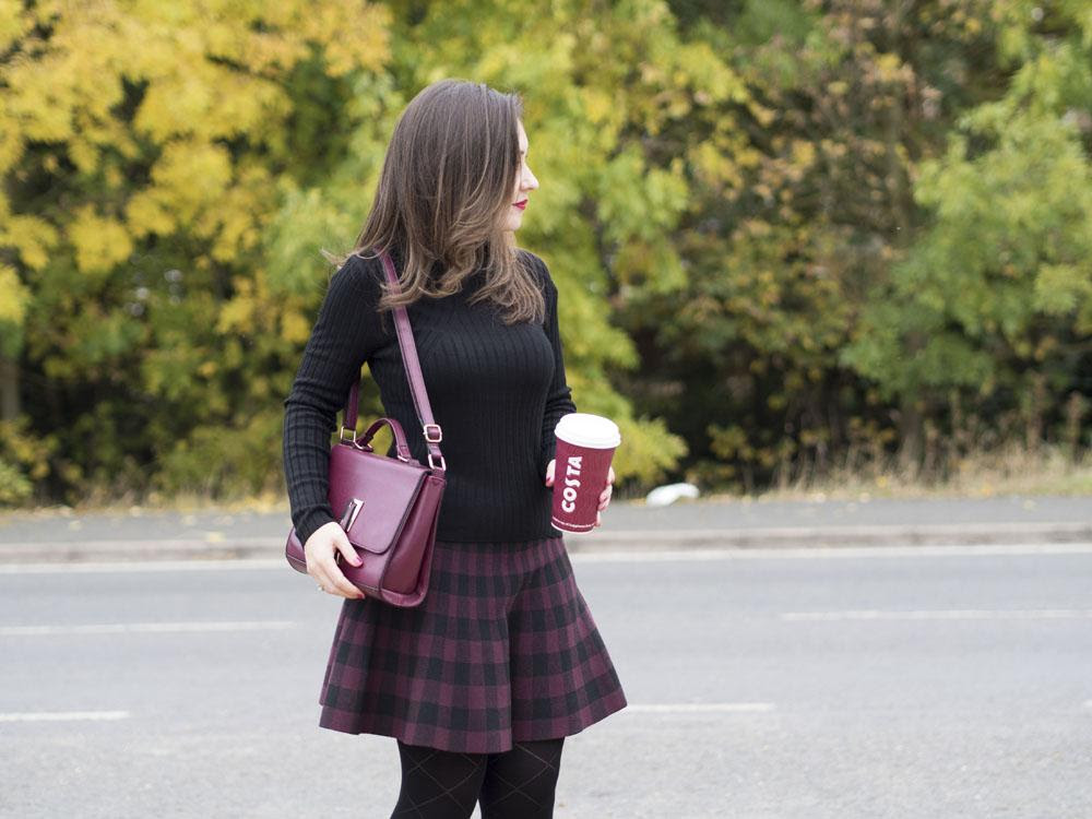 Autumn outfit red tartan skirt