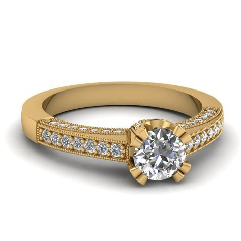 Pave Milgrain Diamond Engagement Ring In 14K Yellow Gold