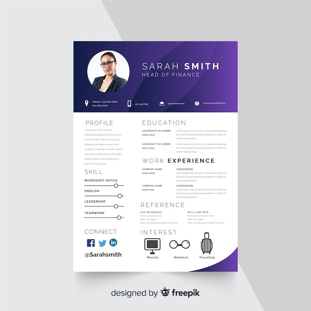 Curriculum vitae template with photo Free Vector