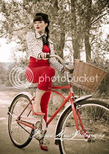 rockabilly girl on old school bike