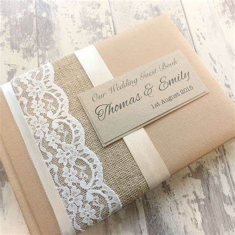 Hessian/burlap rustic personalised wedding guest book