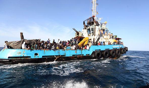 big ship full of African migrants