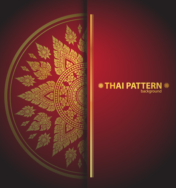 Thai pattern background vector material