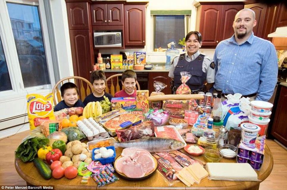 Καναδάς: Οι Melansons από Iqaluit, Nunavut Επικράτεια, οι οποίοι δαπανούν περίπου £ 220 την εβδομάδα για τα τρόφιμα