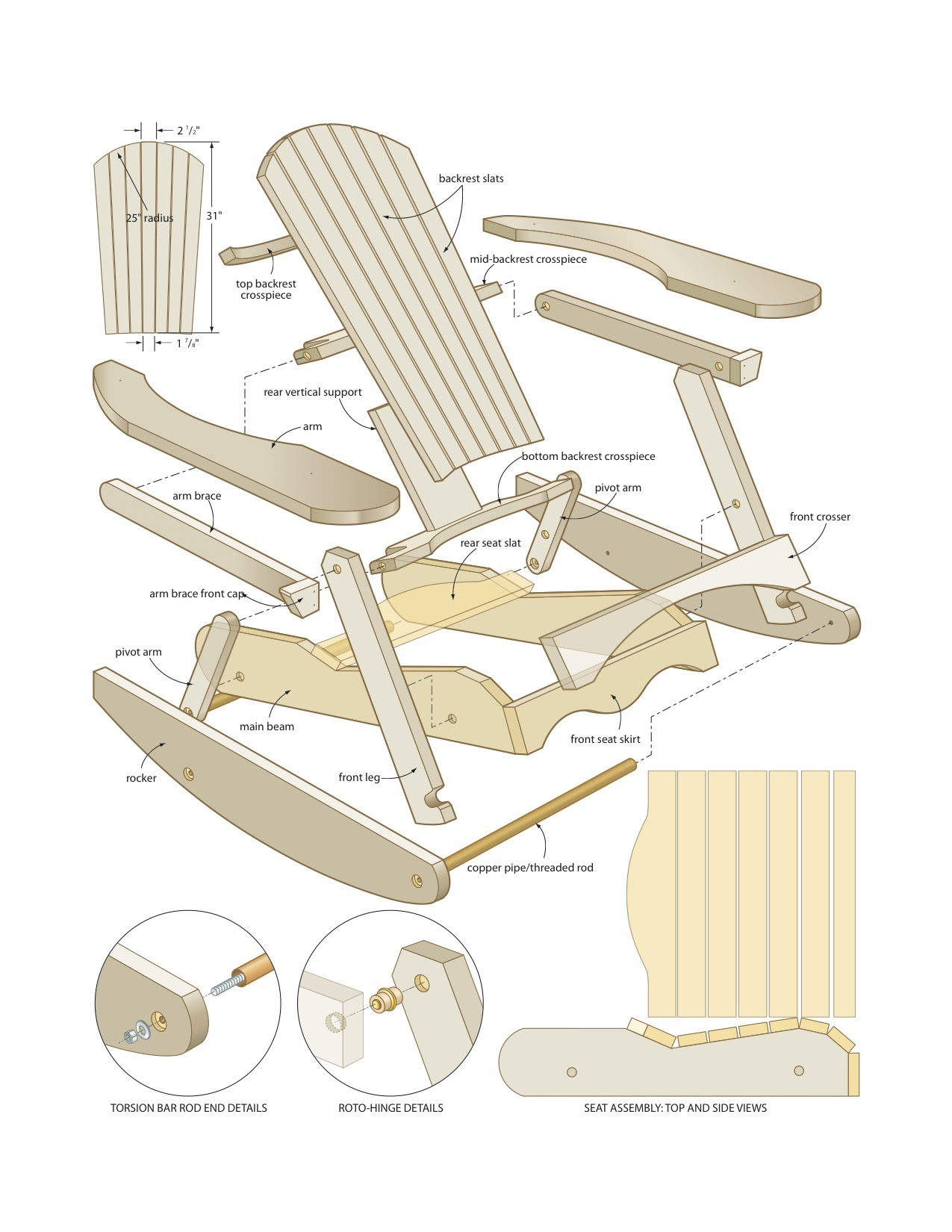 woodworking plans glider rocker wood joints diagrams