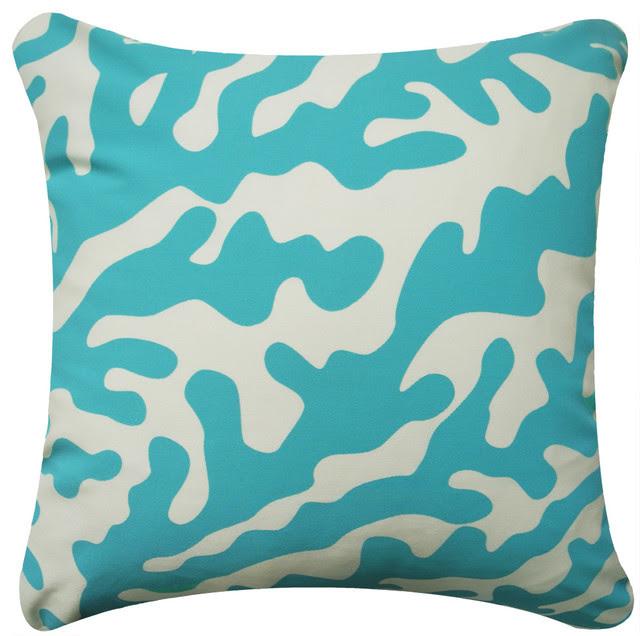 Aqua Coral Modern Eco Coastal Throw Pillows - beach style