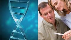 DNA and a couple looking at a pregnancy test