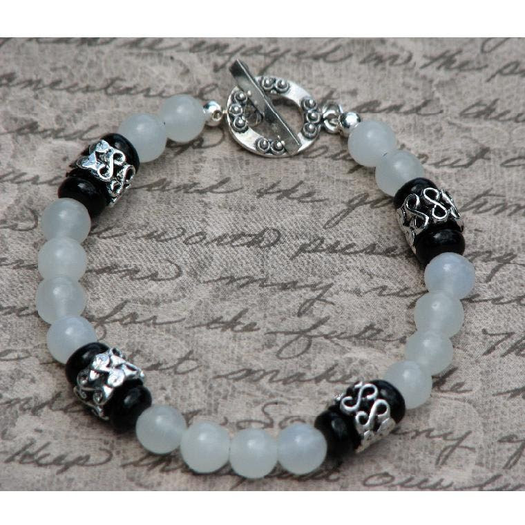 Jade Bracelet with Black Onyx and Bali Style Sterling Silver