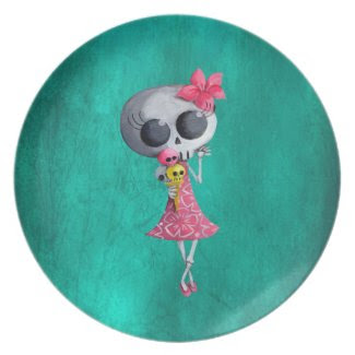 Little Miss Death with Halloween Ice Cream Plates