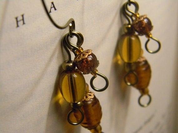 Amber and Bronze Demi Hoop Glass Beaded Earrings