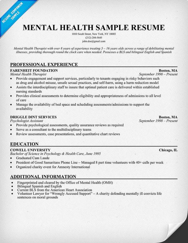 curriculum vitae  curriculum vitae examples for mental health